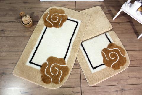 Комплект ковриков для ванной и туалета DOLCE, бежевый