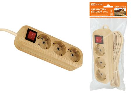 Удлинитель бытовой  У03В выключатель, 3 гнезда, 3метра,2П+3, ПВС 3х1мм2