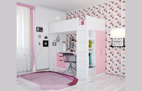 Кровать-чердак Polini kids Simple с письменным столом и шкафом, белый-роза