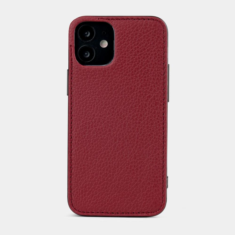 Чехол-накладка для iPhone 12 Mini из натуральной кожи теленка, вишневого цвета