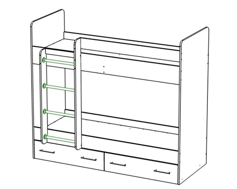 Кровать двухъярусная  ЛАВОРО с ящиками левая 1800-700 /1832*1604*852/