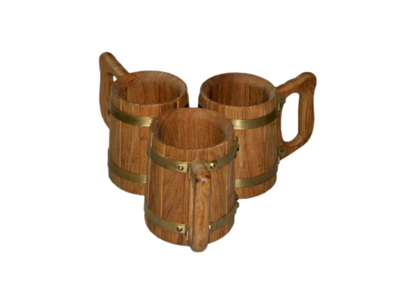 Бочки и бондарные изделия Кружка дубовая 1 л 1.png