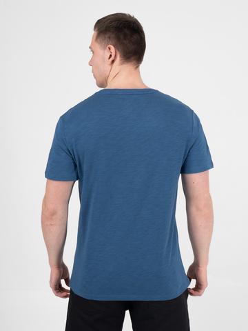 Мужская футболка «Великоросс» тёмно-синего цвета круглый ворот
