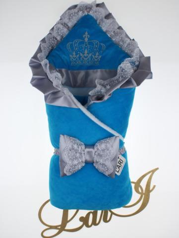 Зимний велюровый конверт Очарование (голубой)