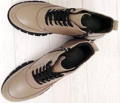 Ботильоны кожаные женские демисезонные ботинки на шнуровке Yudi B-20 082 Beige.