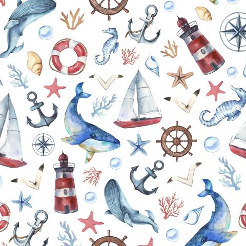 Морской паттерн. Киты,маяк,якорь,яхта.