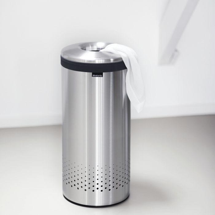 Бак для белья с металлической крышкой (35 л), Стальной матовый, арт. 105128 - фото 1