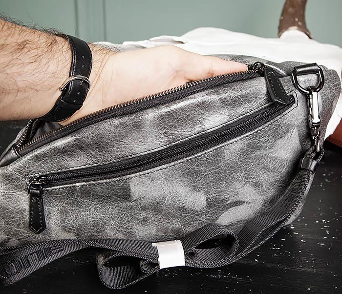 BAG487-3 Мужская сумка «банан» через плечо фото 09