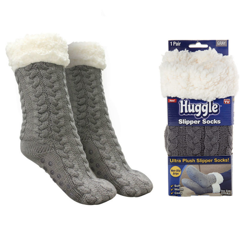 Товары для отдыха и путешествий Плюшевые носки-тапочки Huggle Slipper Socks tapochki-noski.jpg