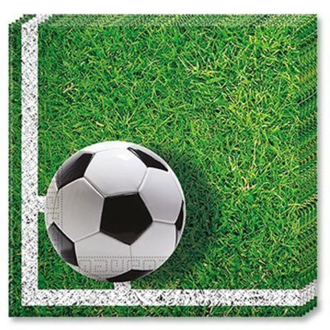 1502-2023 Салфетки Футбол зеленый, газон, 20 штук
