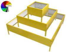 Клумба квадратная оцинкованная 3 яруса с выбором полимерного покрытия