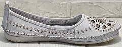 Кожаные мокасины белые слипоны женские Rozen 212 White.