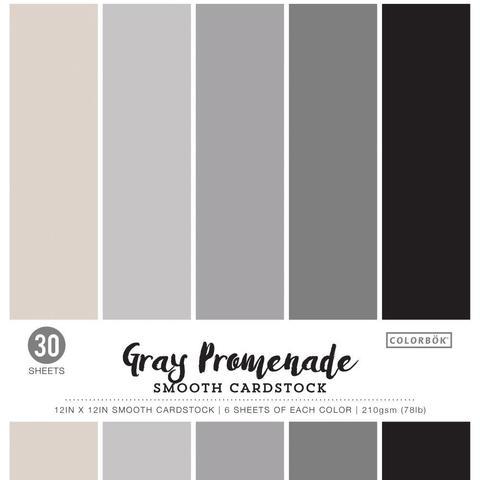 Набор цветного кардстока 30х30 см. Colorbok  Smooth Cardstock- Gray Promenade -30 л