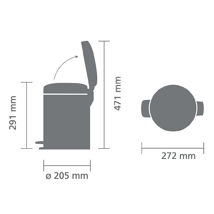 Мусорный бак newicon (5 л), Стальной полированный, арт. 112621 - фото 1