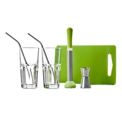 Набор для приготовления коктейля ( 2 стакана + 2 трубочки + пресс для мохито + разделочная доска + джиггер), серия Clasica, 798000, IBILI, Испания