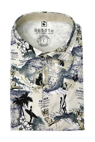 DESOTO Поло в пляжно-географический принт