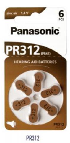 Батарейки Panasonic Zinc Air PR 312 / (6 bl)