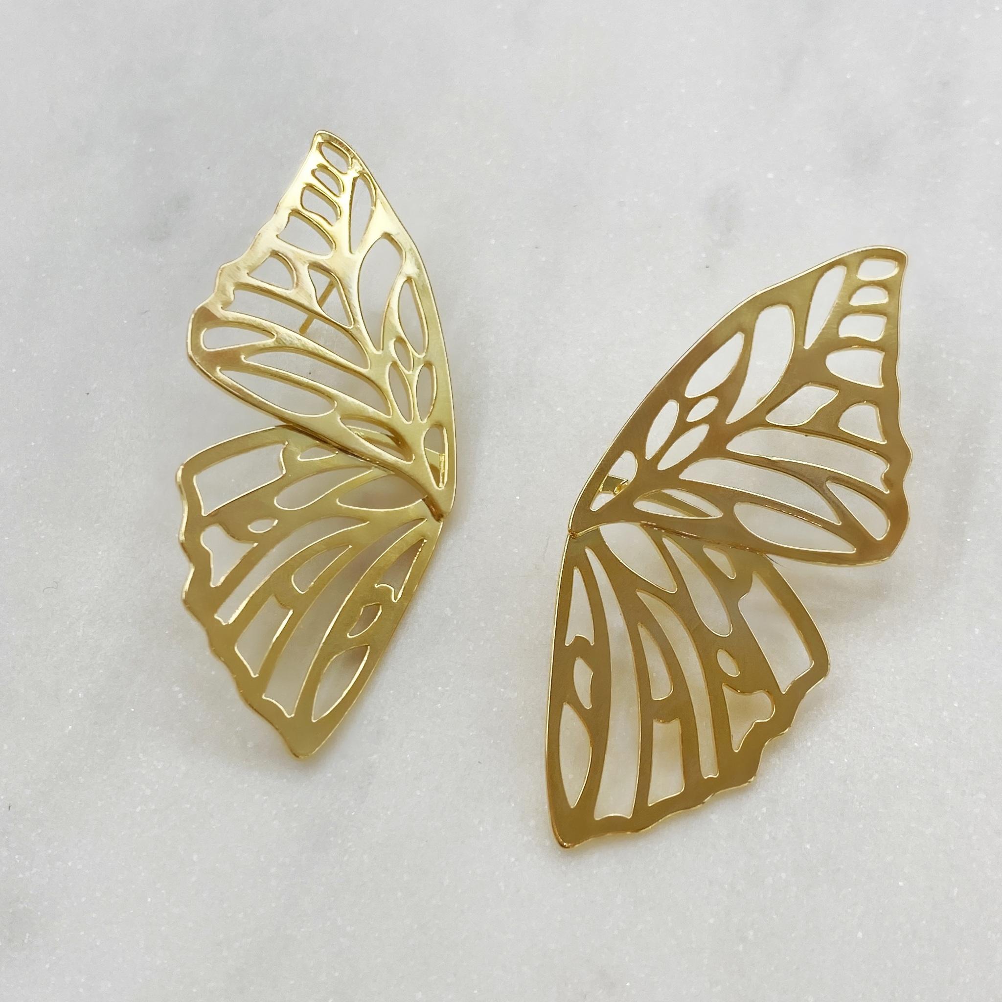 Серьги Бабочки резные (золотистый)