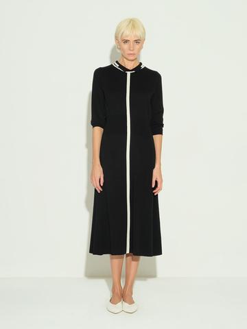 Женское платье черного цвета из шерсти и шелка - фото 2