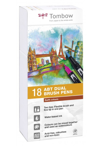 Набор маркеров Tombow ABT Dual brush pens, натуральные цвета, 18 цветов.