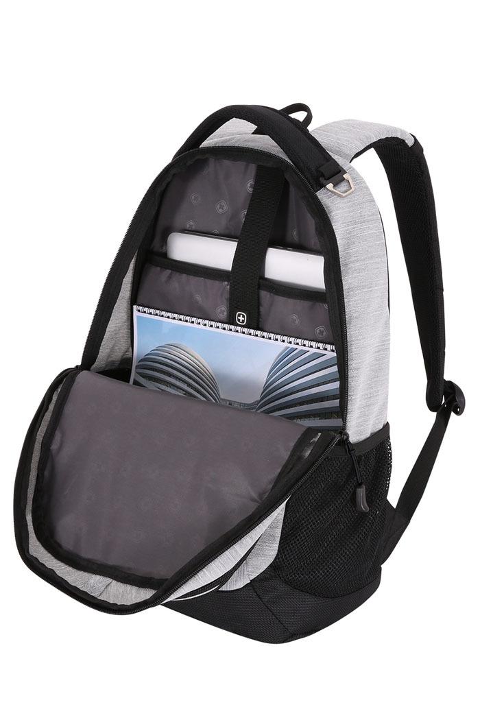 Рюкзак WENGER, цвет светло-серый/чёрный, 26 л., 46х33х16,5 см., отделение для ноутбука 18