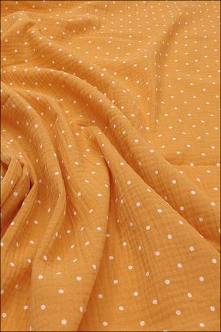 Ткань муслиновая, горошек, манго