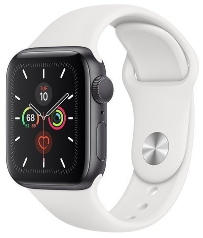 Часы Apple Watch Series 5 GPS 44mm Aluminum Case with Sport Band Серебристый/Белый