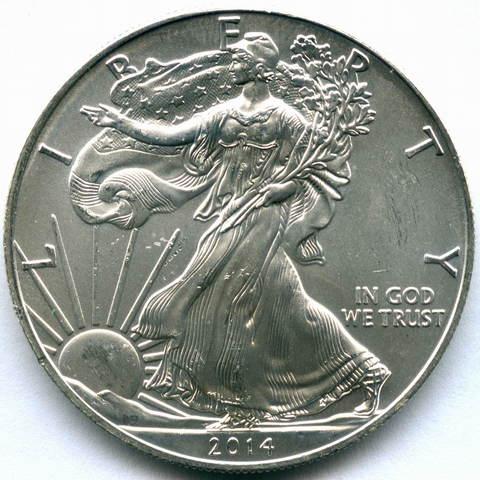 """1 доллар 2014 год США AU """"Шагающая свобода"""""""