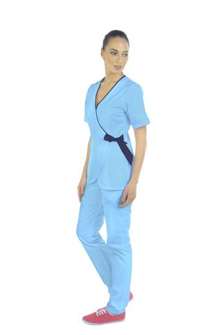 Медицинский топ-кимоно женский голубой MC6076_MBLN