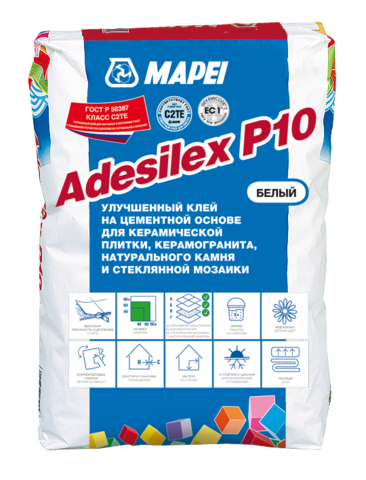 Mapei Adesilex P10/Мапей Адесилекс П10 белый цементный клей для укладки стеклянной, керамической и мраморной мозаики класса С2ТЕ