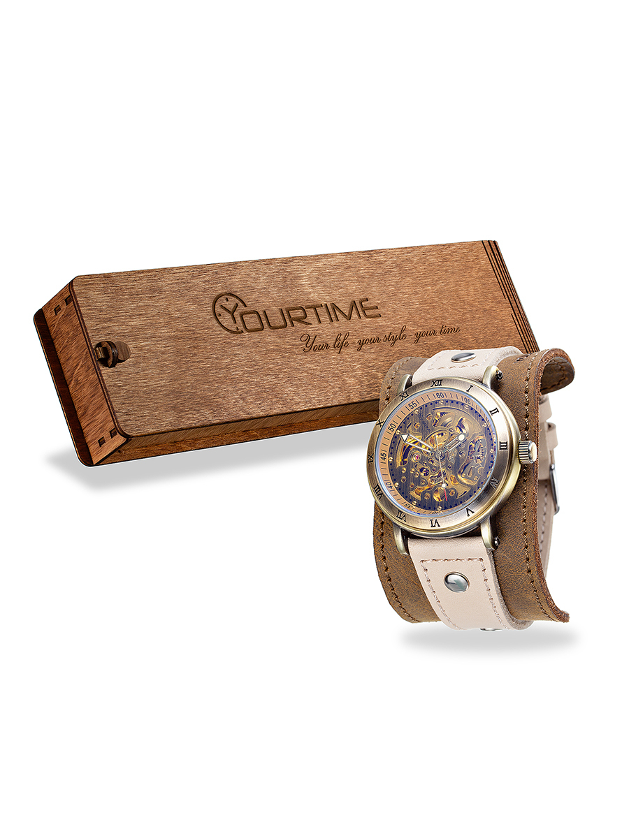 Часы скелетоны женские механические Steampunk YOURTIME