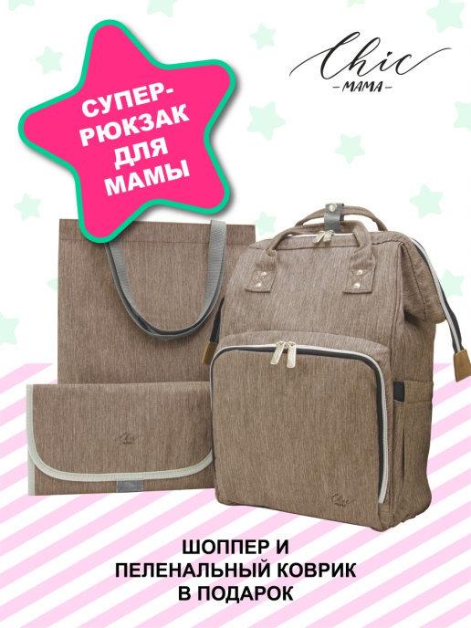 Многофункциональный рюкзак для мам с сумкой-шоппером, пеленальным ковриком и USB-кабелем в подарок