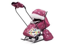 Санки коляска PIKATE Снежинки «Малина»