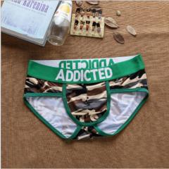 Трусы мужские слипы камуфляжные коричневые с зеленой резинкой ADDICTED