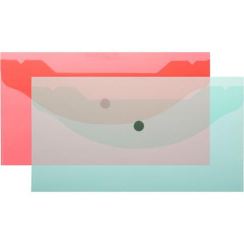 Папка конверт на кнопке А6 135x250мм,Attache 180мкм, ассорти, 10шт.уп