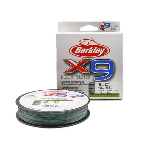 Плетеная леска Berkley X9 150 м. Темно-зеленая 0,30 мм. 22,7 кг.