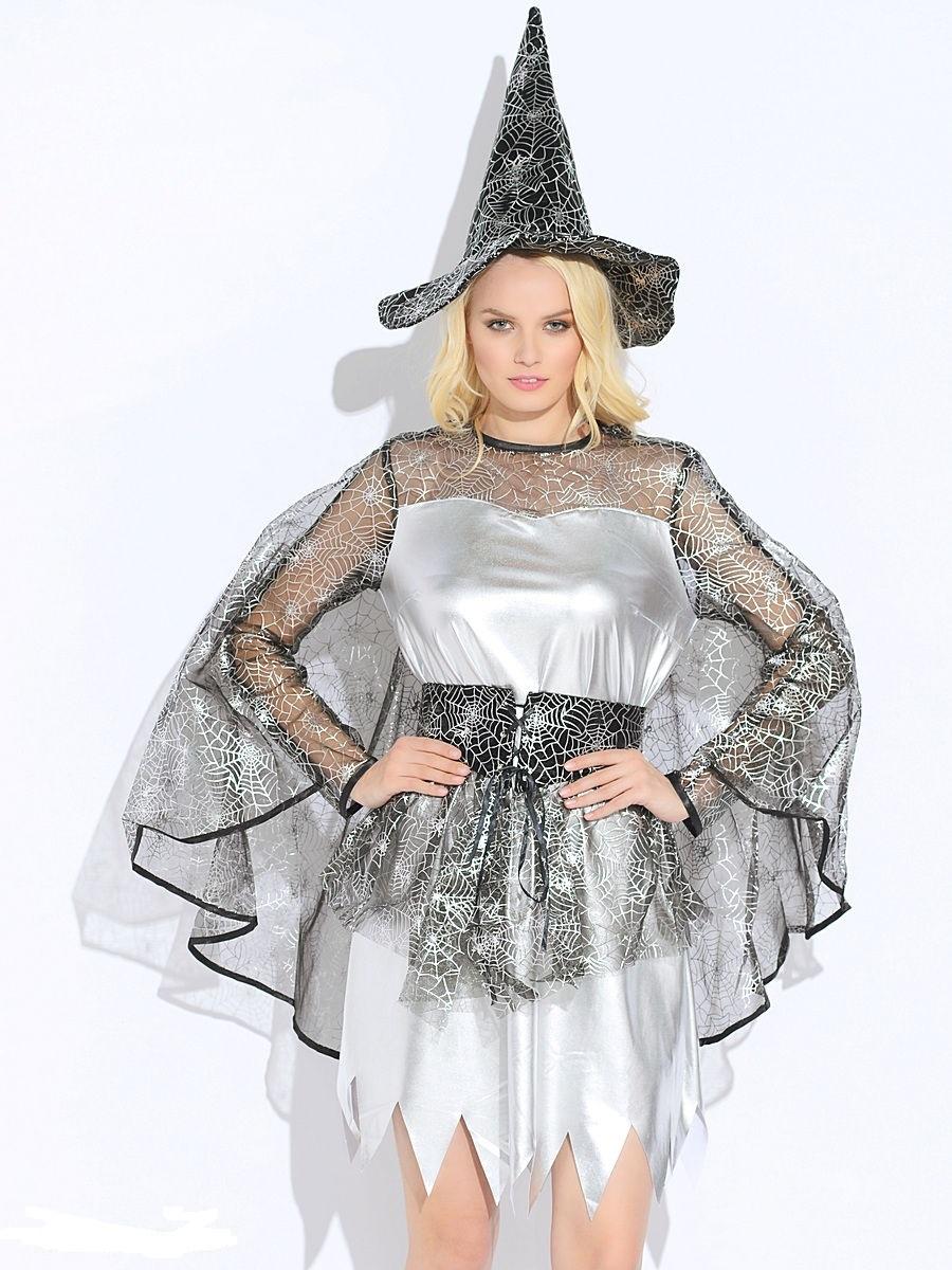 Карнавальный костюм взрослый  Ведьмочка серебристая