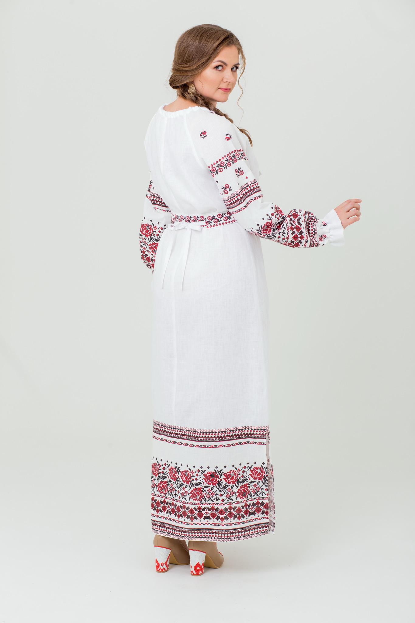 Платье в русском стиле из льна Женское счастье