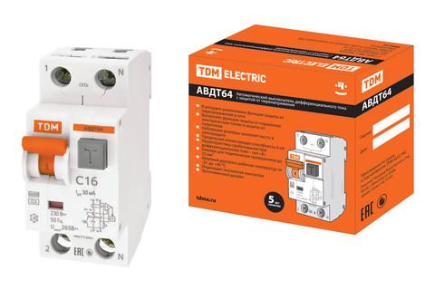 АВДТ 64 2Р(1Р+N) C16 30мА тип А защита 265В TDM