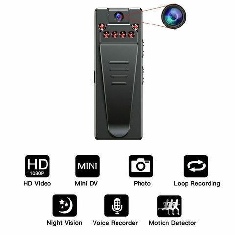 Мини видеокамера Vandlion A7 с диктофоном,  с функцией ночного видения, диктофон с креплением клипсой