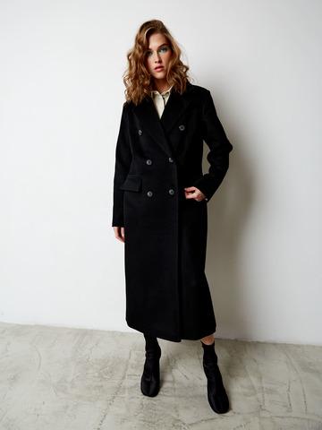 Пальто двубортное прямое из шерсти и кашемира черное
