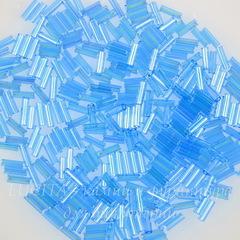 61030 Бисер Preciosa стеклярус #3, прозрачный радужный голубой