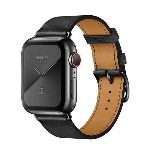 Apple Watch Hermès GPS + Cellular 44mm Space Black Stainless Steel Case with Noir Swift Leather Single Tour