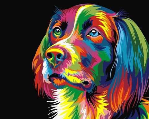 Алмазная Мозаика 30x40 Собака в разных цветах (Арт. MSEG72437 )