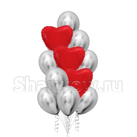 Фонтан из воздушных шаров Красный и Серебро