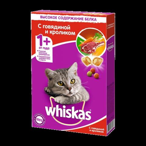 Whiskas Сухой корм для кошек подушечки с говядиной и кроликом, паштет