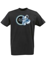 Футболка с принтом Знаки Зодиака, Водолей (Гороскоп, horoscope) черная 005