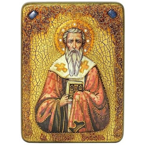 Инкрустированная икона Святитель Григорий Богослов 29х21см на натуральном дереве, в подарочной коробке