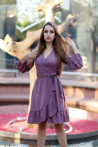 Сиреневое платье в горох купить