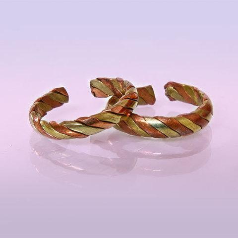 Кольцо Два металла плетёное